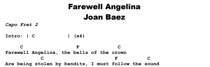 Joan Baez  -  Farewell Angelina Chords & Songsheet