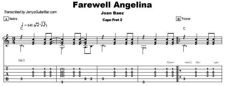 Joan Baez  -  Farewell Angelina Tab