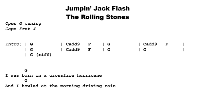 The Rolling Stones - Jumpin' Jack Flash Chords & Songsheet