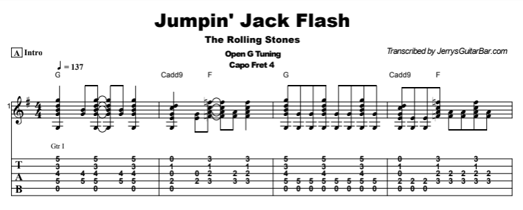 The Rolling Stones - Jumpin' Jack Flash Tab