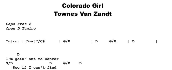 Townes Van Zandt - Colorado Girl Chords & Songsheet