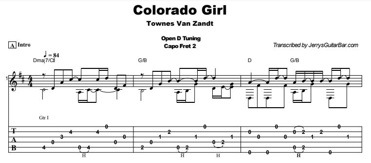 Townes Van Zandt - Colorado Girl Tab