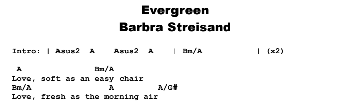 Barbra Streisand - Evergreen Chords & Songsheet