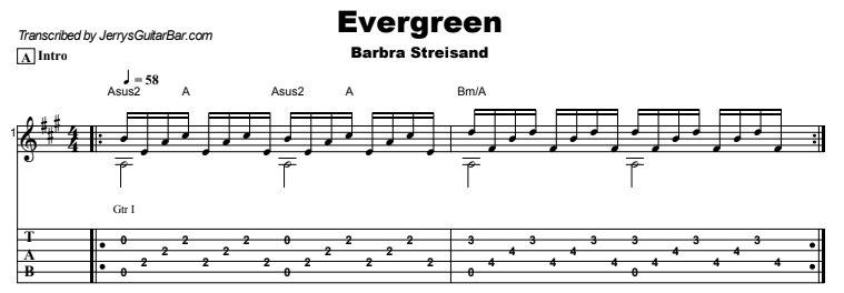 Barbra Streisand - Evergreen Tab