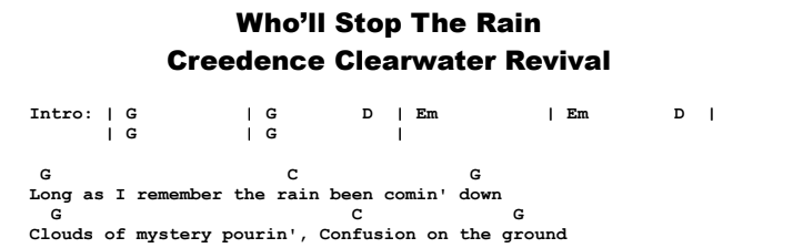 Creedence Clearwater Revival - Who'll Stop The Rain Chords & Songsheet
