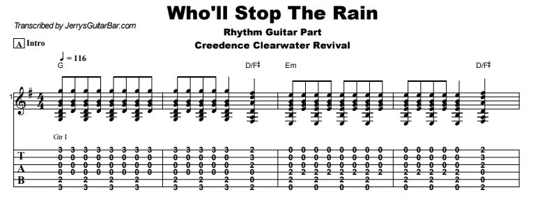 Creedence Clearwater Revival - Who'll Stop The Rain Tab