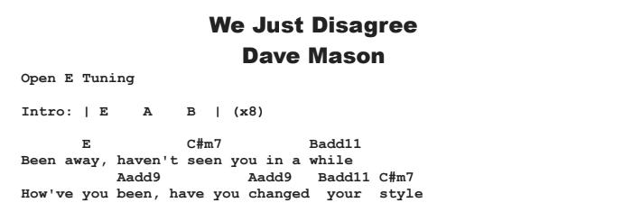 Dave Mason - We Just Disagree Chords & Songsheet