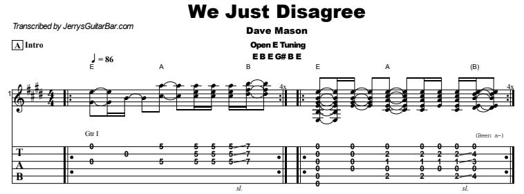 Dave Mason - We Just Disagree Tab