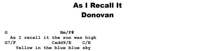 Donovan - As I Recall It Chords & Songsheet