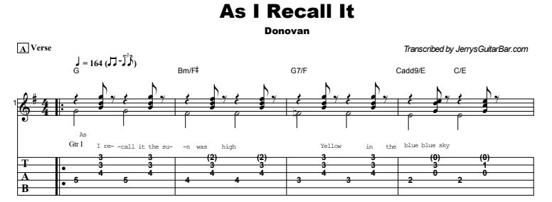 Donovan - As I Recall It Tab