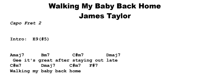 James Taylor - Walking My Baby Back Home Chords & Songsheet