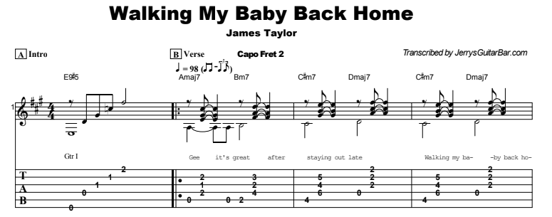 James Taylor - Walking My Baby Back Home Tab