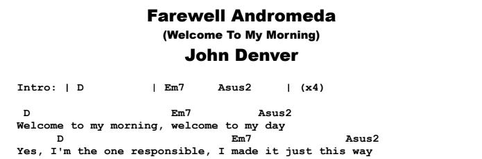 John Denver - Farewell Andromeda (Welcome To My Morning) Chords & Songsheet