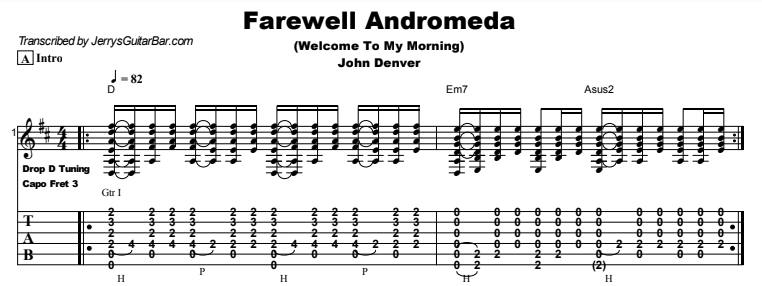 John Denver - Farewell Andromeda (Welcome To My Morning) Tab