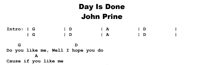 John Prine - Day is Done Chords & Songsheet