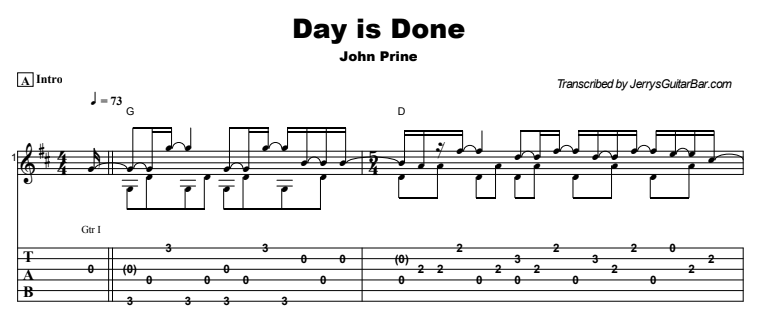 John Prine - Day is Done Tab