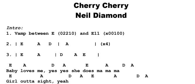Neil Diamond - Cherry Cherry Chords & Songsheet