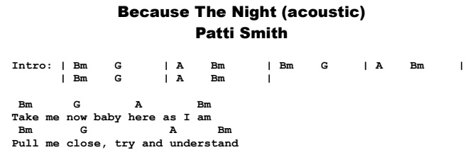 Patti Smith - Because The Night (acoustic) Chords & Songsheet