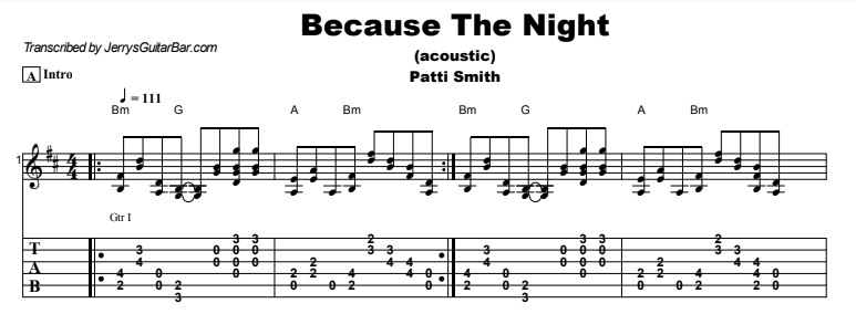 Patti Smith - Because The Night (acoustic) Tab