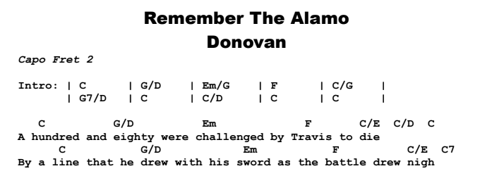 Donovan - Remember The Alamo Chords & Songsheet
