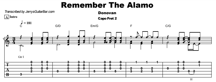 Donovan - Remember The Alamo Tab