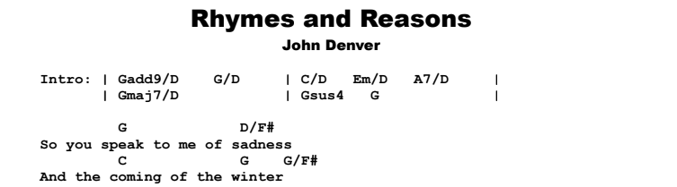 John Denver - Rhymes and Reasons Chords & Songsheet