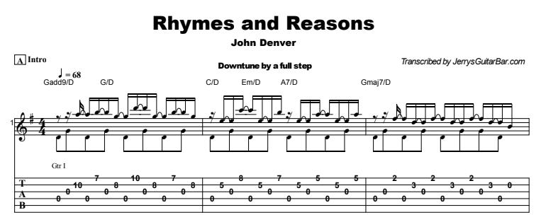John Denver - Rhymes and Reasons Tab
