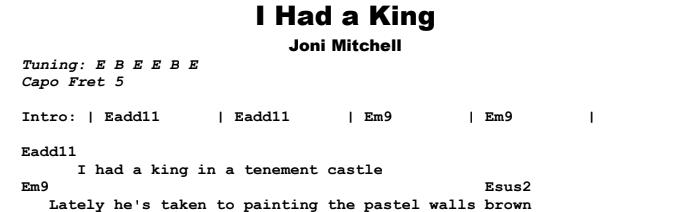 Joni Mitchell - I Had a King Chords & Songsheet