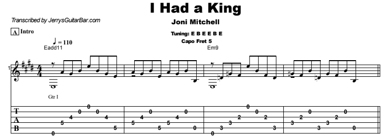 Joni Mitchell - I Had a King Tab