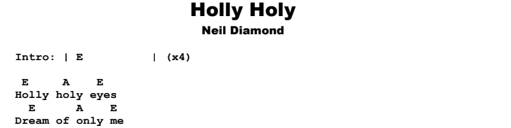 Neil Diamond - Holly Holy Songsheet