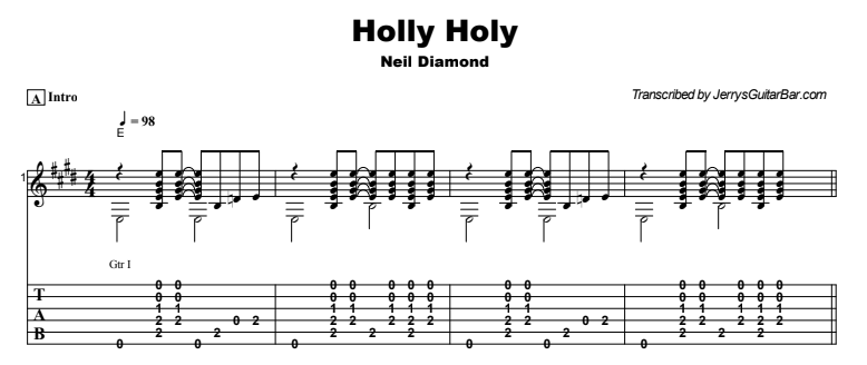 Neil Diamond - Holly Holy Tab