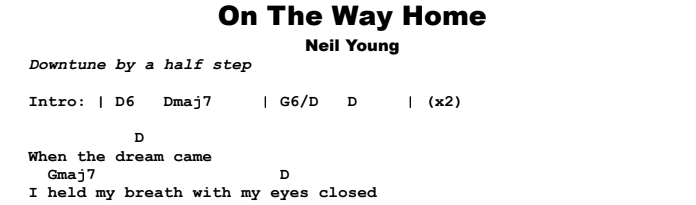 Neil Young - On The Way Home Chords & Songsheet