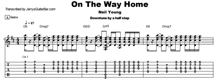 Neil Young - On The Way Home Tab