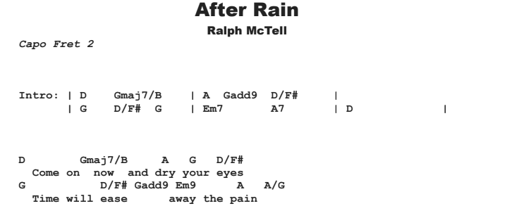 Ralph McTell - After Rain Chords & Songsheet