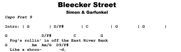 Simon and Garfunkel - Bleecker Street Chords & Songsheet