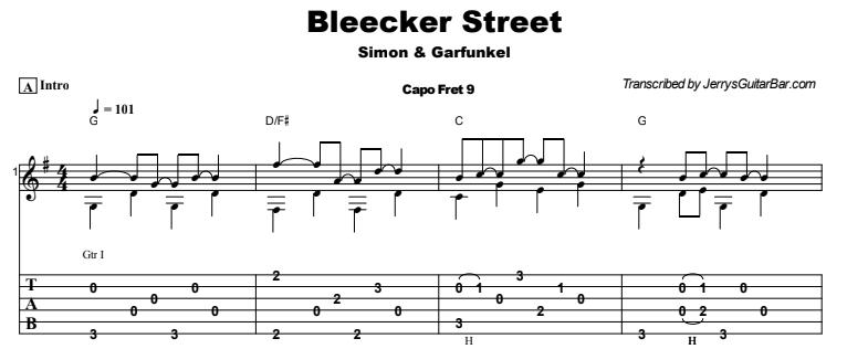 Simon and Garfunkel - Bleecker Street Tab