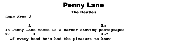 The Beatles - Penny Lane Chords & Songsheet