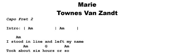 Townes Van Zandt - Marie Chords & Songsheet