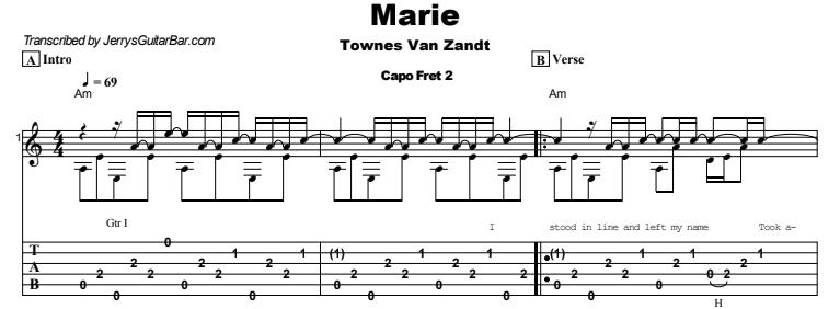 Townes Van Zandt - Marie Tab