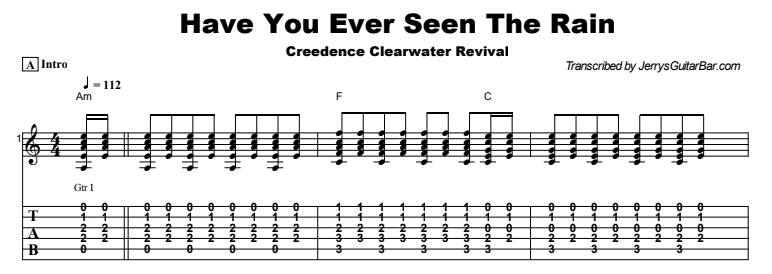 Creedence Clearwater Revival - Have You Ever Seen The Rain Tab