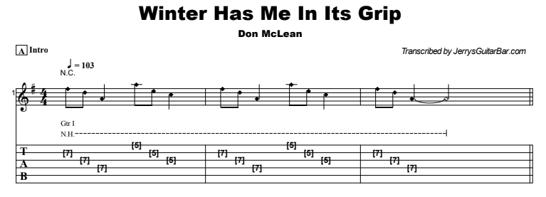 Don McLean - Winter Has Me In Its Grip Tab
