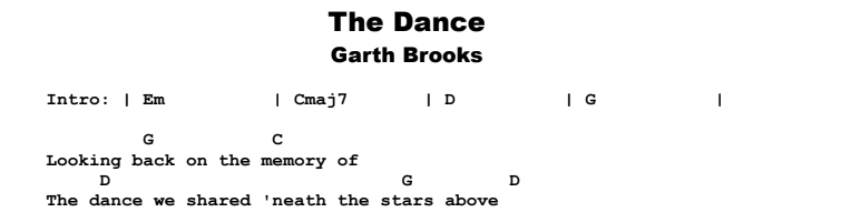 Garth Brooks - The Dance Chords & Songsheet