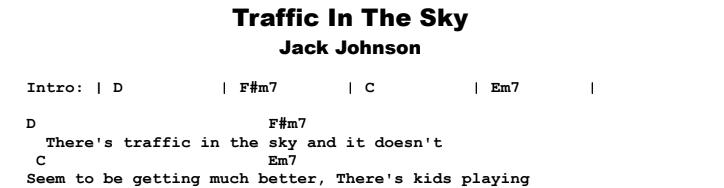 Jack Johnson - Traffic In The Sky Songsheet & Tab