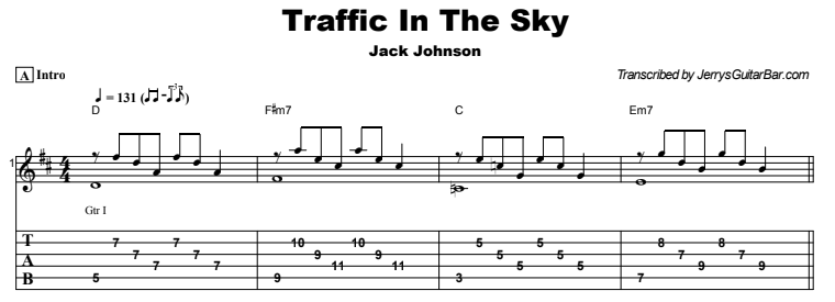 Jack Johnson - Traffic In The Sky Tab