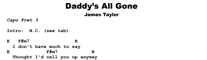 James Taylor - Daddy's All Gone Chords & Songsheet
