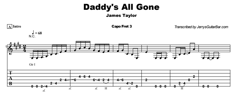 James Taylor - Daddy's All Gone Tab