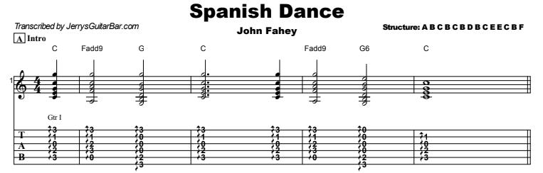 John Fahey - Spanish Dance Tab Preview