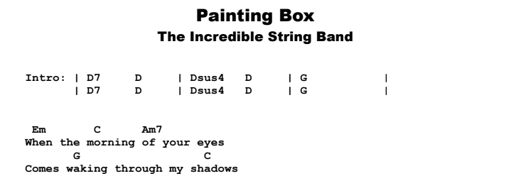 The Incredible String Band - Painting Box Chords & Songsheet