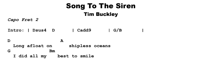 Tim Buckley - Song To The Siren Chords & Songsheet