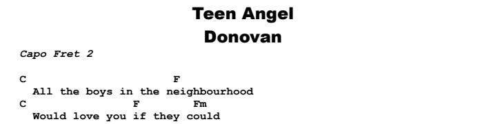 Donovan - Teen Angel Chords & Songsheet